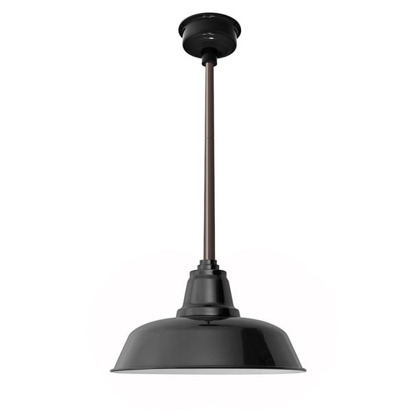 "16"" Goodyear LED Pendant Light in Black with Mahogany Bronze Downrod"