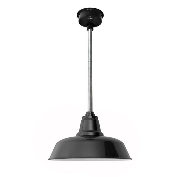 "16"" Goodyear LED Pendant Light in Black with Galvanized Slilver Downrod"