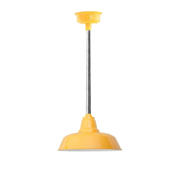 "14"" Goodyear LED Pendant Light in Yellow with Galvanized Silver Downrod"