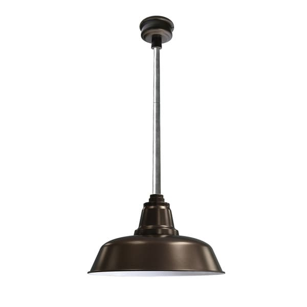 "14"" Goodyear LED Pendant Light in Mahogany Bronze with Galvanized Silver Downrod"