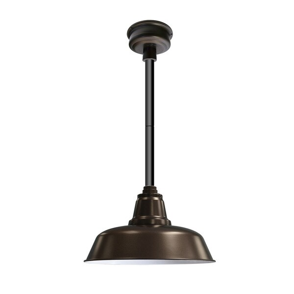 """14"""" Goodyear LED Pendant Light in Mahogany Bronze with Black Downrod"""