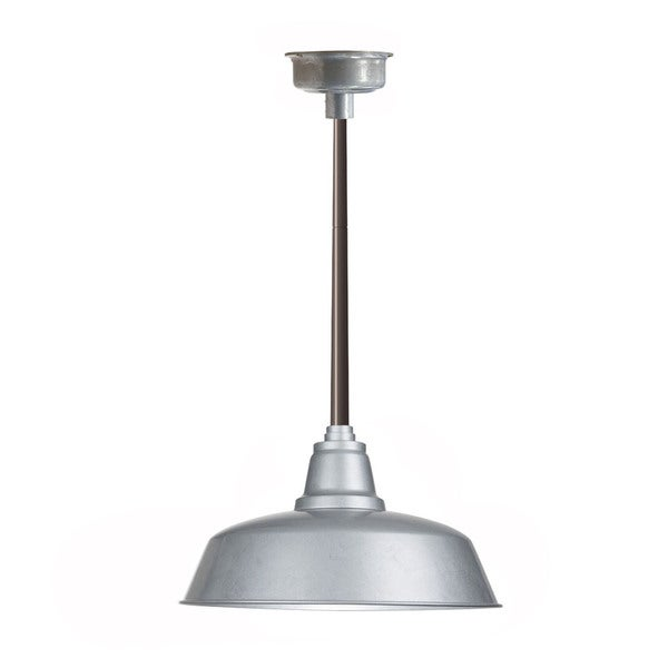 "14"" Goodyear LED Pendant Light in Galvanized Silver with Mahogany Bronze Downrod"