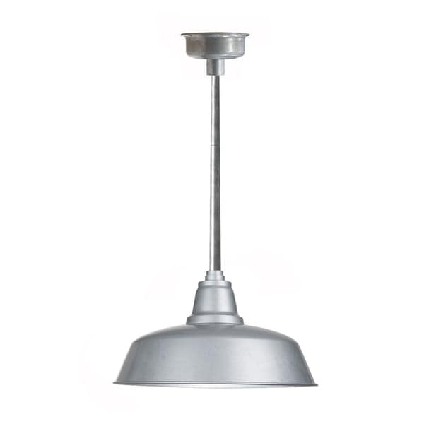 "14"" Goodyear LED Pendant Light in Galvanized Silver with Galvanized Silver Downrod"