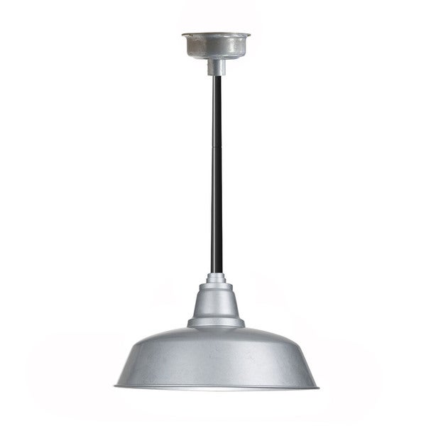 "14"" Goodyear LED Pendant Light in Galvanized Silver with Black Downrod"