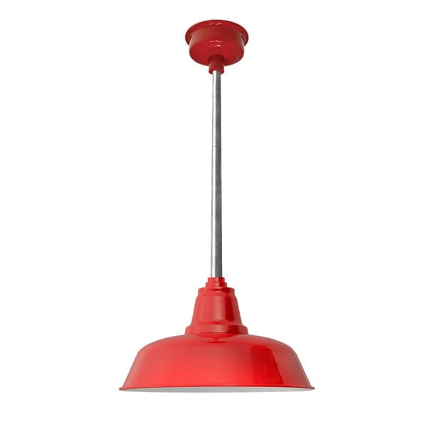 "14"" Goodyear LED Pendant Light in Cherry Red with Galvanized Silver Downrod"