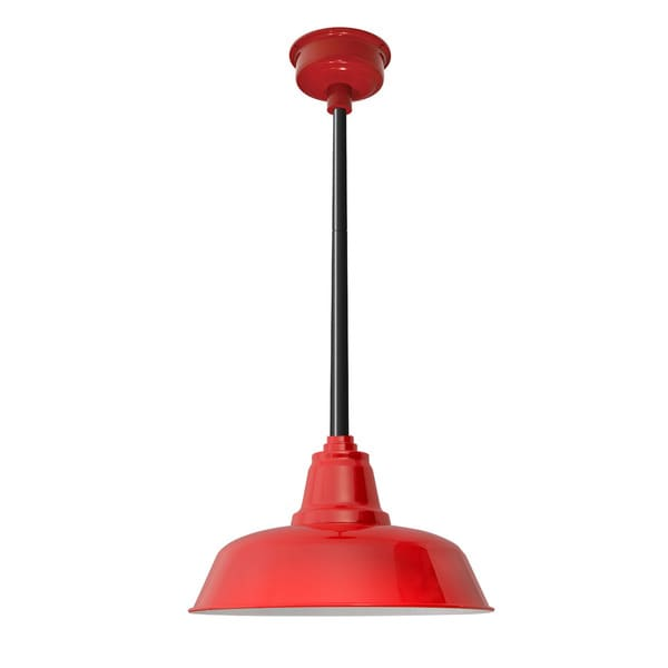 """14"""" Goodyear LED Pendant Light in Cherry Red with Black Downrod"""