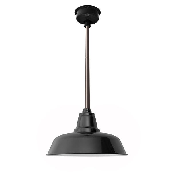 "14"" Goodyear LED Pendant Light in Black with Mahogany Bronze Downrod"
