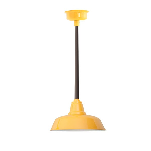 """12"""" Goodyear LED Pendant Light in Yellow with Mahogany Bronze Downrod"""