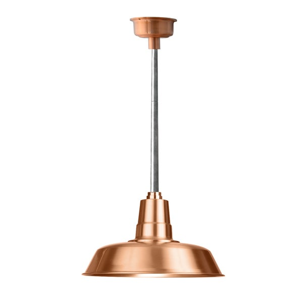 """18"""" Oldage LED Pendant Light in Solid Copper with Galvanized Silver Downrod"""