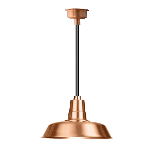 "18"" Oldage LED Pendant Light in Solid Copper with Black Downrod"