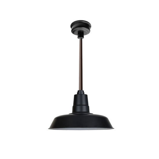 "18"" Oldage LED Pendant Light in Matte Black with Mahogany Bronze Downrod"
