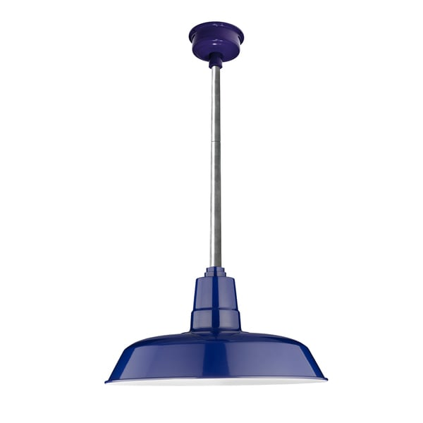 "18"" Oldage LED Pendant Light in Cobalt Blue with Galvanized Silver Downrod"