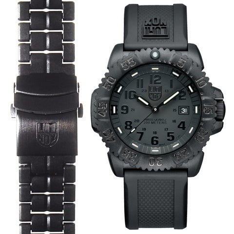 Luminox Men's Navy SEAL Colormark 3051.BO.SET.2, Quartz Movement With Rubber Band and Stainless Steel Band Black Watch
