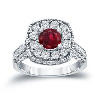 Auriya 14k Gold 3/4ct Ruby and 7/8ct TDW Round Diamond Halo Engagement Ring (H-I, I1-I2)