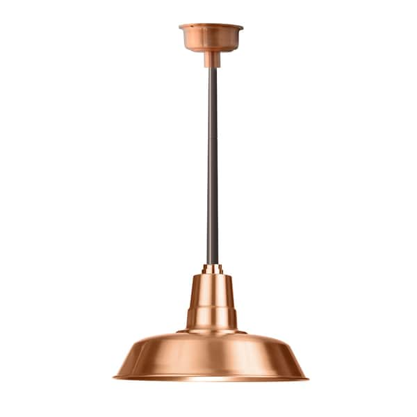 "16"" Oldage LED Pendant Light in Solid Copper with Mahogany Bronze Downrod"