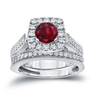 Auriya 14k Gold 1/3ct Ruby and 3/4ct TDW Round Diamond Halo Bridal Ring Set (H-I, I1-I2)