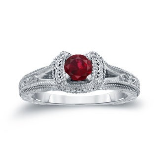 Auriya 14k Gold 2/5ct Ruby and 1/8ct TDW Round Diamond Engagement Ring (H-I, I1-I2)