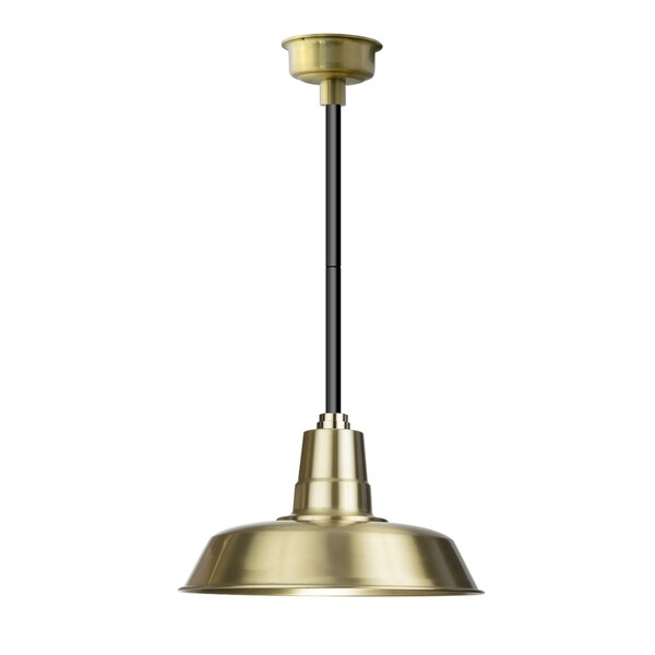 "16"" Oldage LED Pendant Light in Solid Brass with Black Downrod"
