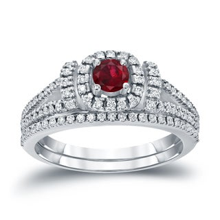 Auriya 14k Gold 1/5ct Ruby and 1/2ct TDW Round Diamond Halo Bridal Ring Set (H-I, I1-I2)