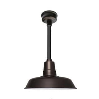 "16"" Oldage LED Pendant Light in Mahogany Bronze with Black Downrod"