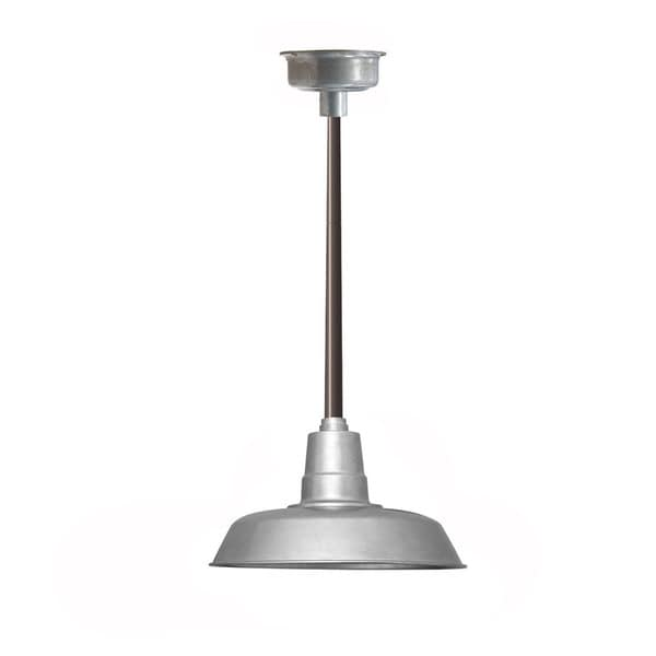 "16"" Oldage LED Pendant Light in Galvanized Silver with Mahogany Bronze Downrod"