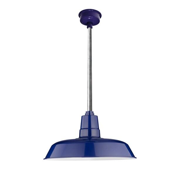 "16"" Oldage LED Pendant Light in Cobalt Blue with Galvanized Silver Downrod"