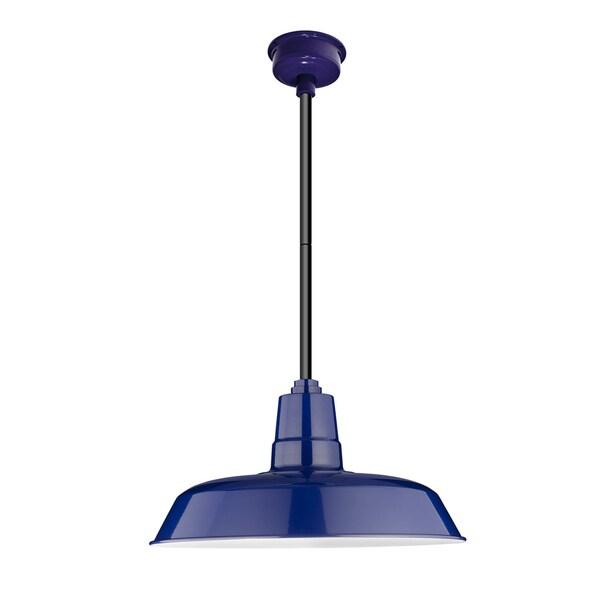 """16"""" Oldage LED Pendant Light in Cobalt Blue with Black Downrod"""