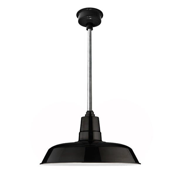 "16"" Oldage LED Pendant Light in Black with Galvanized Silver Downrod"