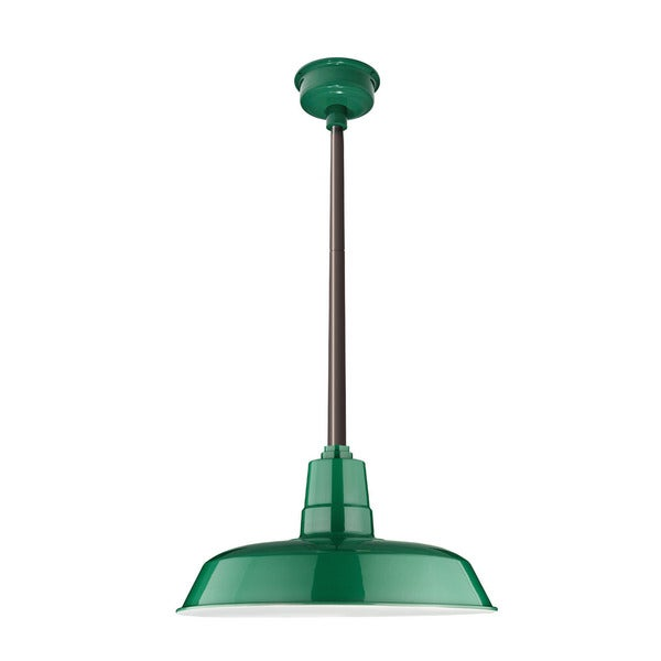 """14"""" Oldage LED Pendant Light in Vintage Green with Mahogany Bronze Downrod"""