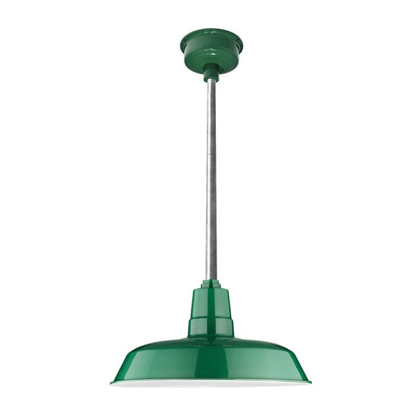"14"" Oldage LED Pendant Light in Vintage Green with Galvanized Silver Downrod"