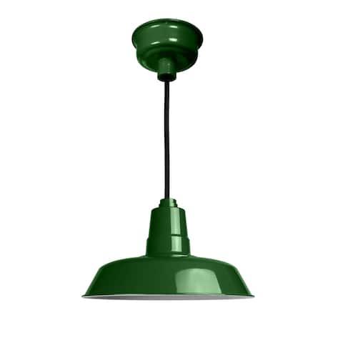 """14"""" Oldage LED Pendant Light in Vintage Green"""