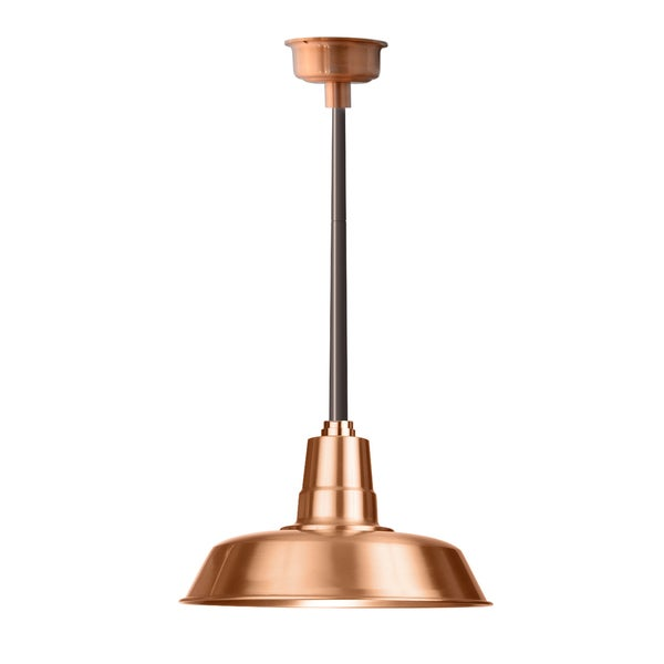 "14"" Oldage LED Pendant Light in Solid Copper with Mahogany Bronze Downrod"