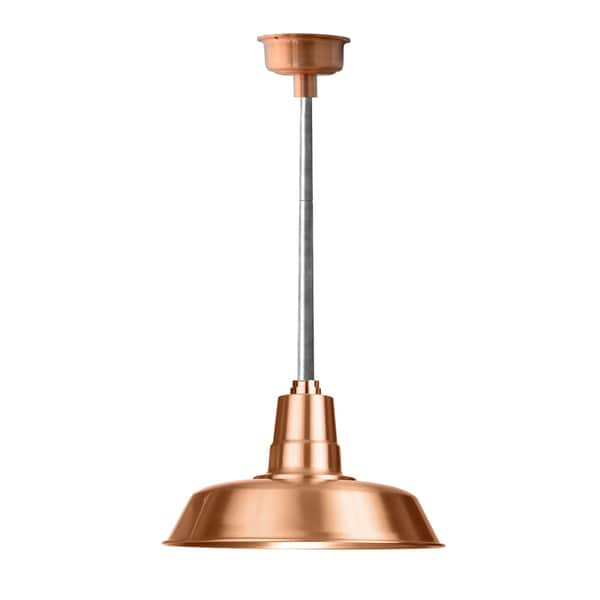 """14"""" Oldage LED Pendant Light in Solid Copper with Galvanized Silver Downrod"""