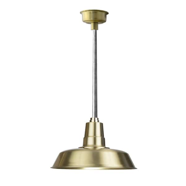 "14"" Oldage LED Pendant Light in Solid Brass with Galvanized Silver Downrod"
