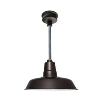 "14"" Oldage LED Pendant Light in Mahogany Bronze with Galvanized Silver Downrod"