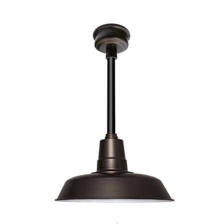 "14"" Oldage LED Pendant Light in Mahogany Bronze with Black Downrod"