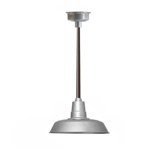 "14"" Oldage LED Pendant Light in Galvanized Silver with Mahogany Bronze Downrod"