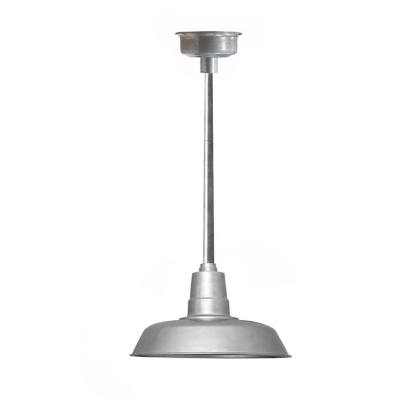 "14"" Oldage LED Pendant Light in Galvanized Silver with Galvanized Silver Downrod"