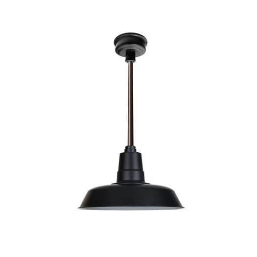 "14"" Oldage LED Pendant Light in Matte Black with Mahogany Bronze Downrod"