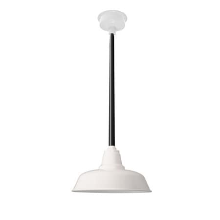 "16"" Goodyear LED Pendant Light in White with Black Downrod"