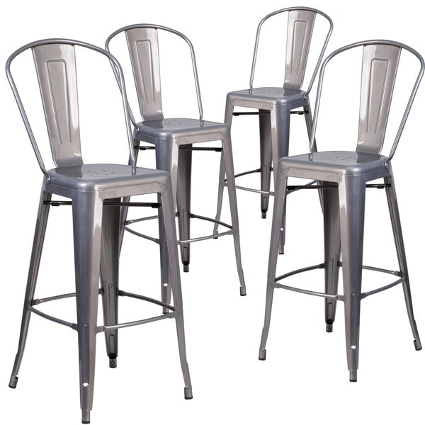 4 Pk. 30'' High Indoor Counter Height Stool with Back