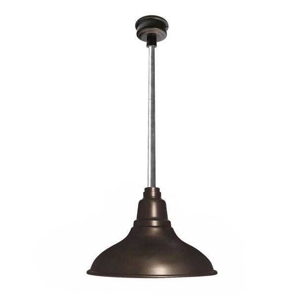 Cocoweb Dahlia Mahogany Bronze with Galvanized Silver Downrod 8-inch LED Pendant Barn Light