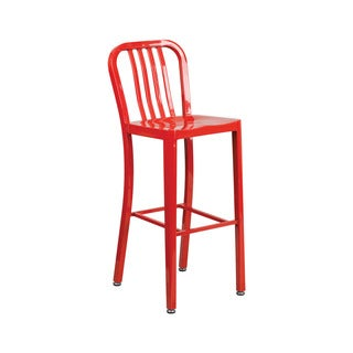Offex Red Metal 30-inch High Indoor/Outdoor Barstool with Vertical Slat Back