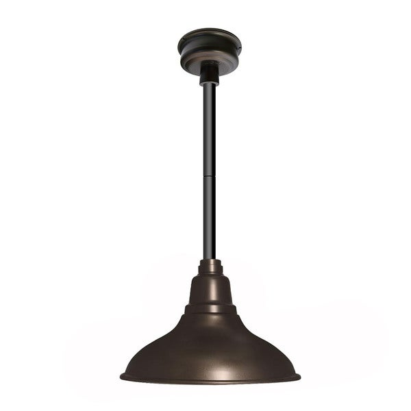 Dahlia Mahogany Bronze Steel 12-inch LED Pendant Light with Black Downrod