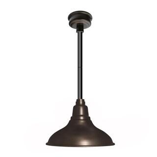 Dahlia Mahogany Bronze Steel 12-inch LED Pendant Light with Black Downrod