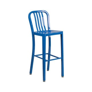 Offex Blue Metal 30-inch High Vertical Slat Back Indoor Outdoor Barstool