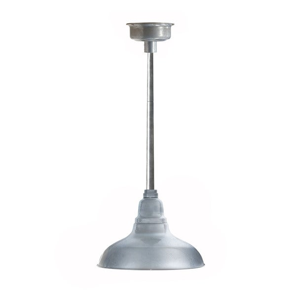 Dahlia Galvanized Silver Metal 12-inch LED Pendant Barn Light with Downrod