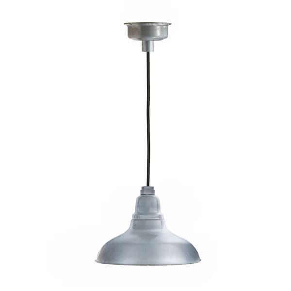 Dahlia Galvanized Silver Metal LED Pendant Barn Light