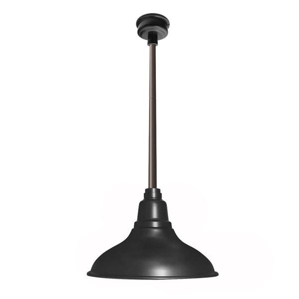 Dahlia Matte Black with Mahogany Bronze Downrod 12-inch LED Pendant Barn Light