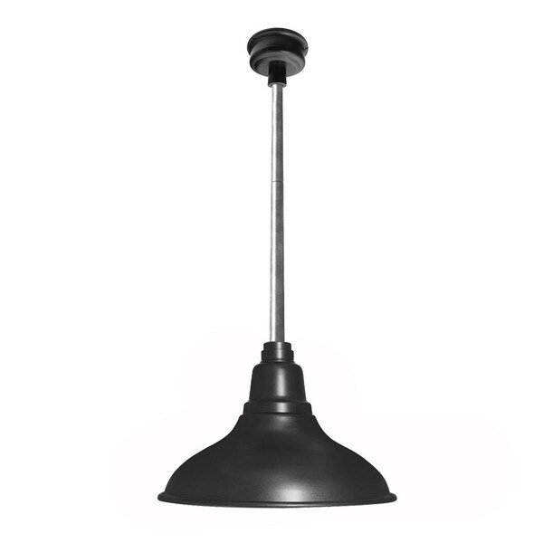 Cocoweb Dahlia Matte Black with Galvanized Silver Downrod 12-inch LED Pendant Barn Light